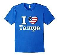 I Heart Love Tampa Patriotic Distressed Vintage T Shirt Royal Blue