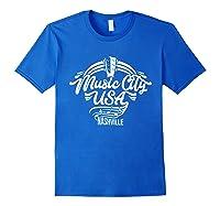 Music City Usa Nashville Retro T Shirt Royal Blue