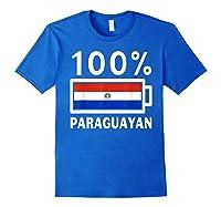 Paraguay Flag T Shirt 100 Paraguayan Battery Power Tee Royal Blue
