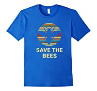 Save The Bees T Shirt Vintage Sunset Bees Gift Shirt Royal Blue