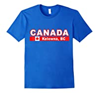Canada Flag And Okanagan City Of Kelowna Design T Shirt Royal Blue