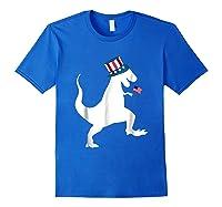 Fourth Of July Dinosaur Shirt Funny Amerisaurus Rex T-shirt Royal Blue