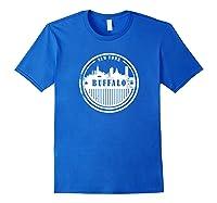 Grunge Buffalo Ny T Shirt Retro Skyline City Royal Blue