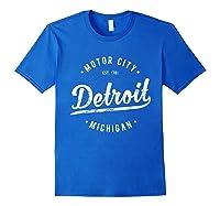 Retro Vintage Detroit Michigan Motor City T Shirt Souvenir Royal Blue