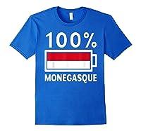 Monaco Flag T Shirt 100 Monegasque Battery Power Tee Royal Blue
