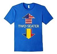 Romanian Two Seater Dad Joke Meme Gift American Flag Shirts Royal Blue