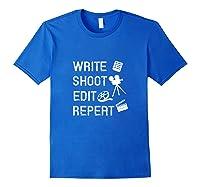 Write Shoot Edit Repeat Movie Filmmaker Gifts Tank Top Shirts Royal Blue