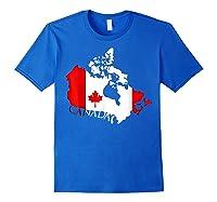 Proud Canada Flag Map T-shirts Maple Leaf Shirt Canada Day T-shirt Royal Blue