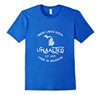 Great Lakes State Unsalted Est 1837 Made In Michigan T-shirt Royal Blue
