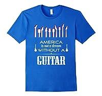Patriot Guitarist T Shirt America Flag Guitar Royal Blue