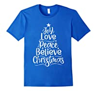 Christmas Shirts Joy Love Peace Believe Xmas Tree Gifts Royal Blue