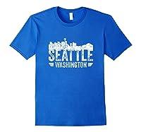 Seattle Skyline Tshirt Silhouette Distressed City Souvenir Royal Blue