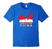 Shenzhen Shirt City Skyline Silhouette China Gift T Shirt Royal Blue