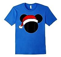 Disney Mickey Santa Hat T Shirt Royal Blue