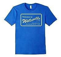 Nickelodeon Pete & Pete Wellsville Sign Premium T-shirt Royal Blue