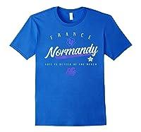 Normandy France Beach T Shirt Royal Blue