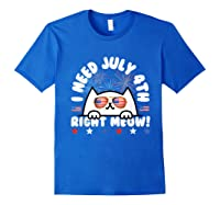 Cat July 4th Independence Day Meow Gift Shirts Royal Blue