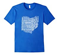 Zanesville Hometown Ohio State Shaped Wordcloud Shirts Royal Blue