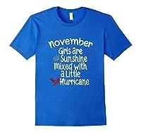 Birthday Gift Idea. Sunshine Hurricane Funny Quote Shirts Royal Blue