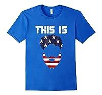 This Is American Beard T Shirt America Flag 4th July Royal Blue