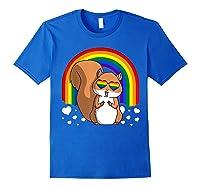 Squirrel Gay Pride Rainbow Q Cute Gift Shirts Royal Blue