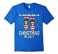 Christmas In July Santa Flip Flop Summer Xmas Gift Shirts Royal Blue