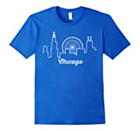 Chicago Skyline Shirt Silhouette Il City Flag T Shirt Royal Blue