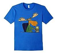Smiletodaytees Funny Moose Drinking Mug Of Beer T-shirt Royal Blue