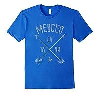 Merced Ca T Shirt Distressed Boho Style Home City Royal Blue