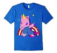 Dabbing Unicorn Merica 4th Of July For Shirts Royal Blue