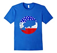 Bass Fish Retro Style Fishing American Flag Shirts Royal Blue