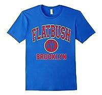 Flatbush Varsity Style Nyc Red Print T Shirt Royal Blue