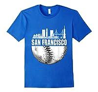 San Francisco Skyline City Baseball T Shirt Souvenir Skyline Royal Blue