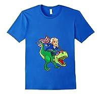 George Washington Riding T Rex Dinosaur 4th Of July Trex Shirts Royal Blue