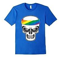 Funny Lbgt Gay Pride Rainbow Flag Skull Cool Art Gifts Shirts Royal Blue