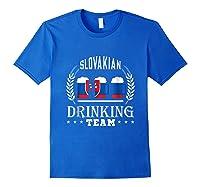 Beer Slovenian Drinking Team Casual Slovakia Flag T-shirt Royal Blue