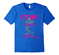 Cute It's My Daughter's 5th Birthday Party Out Shirts Royal Blue