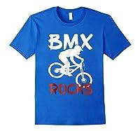 Bmx Riding Rocks T Shirt Cool Dirt Bike Race Stunt Gift Tees Royal Blue