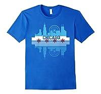 Chicago Skyline Shirt Silhouette Il City Flag Gift T Shirt Royal Blue