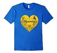 Wing Cow Heart Flower T-shirt - Apparel Royal Blue