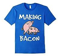 Pigs Making Bacon | Funny Pork Breakfast Shirt | Royal Blue