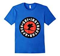 Apres Ski Skiing Instructor T Shirt Usa, France Lover Gift Royal Blue