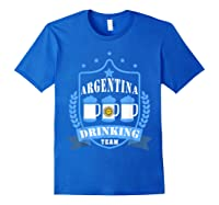 Beer Argentina Drinking Team Casual Argentina Flag T-shirt Royal Blue