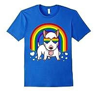 Bull Terrier Dog Gay Pride Rainbow Q Cute Gift Shirts Royal Blue
