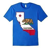 California Bear And Map Cool Gift Shirts Royal Blue