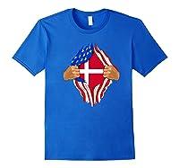 Danish Blood Inside Me T-shirt | Denmark Flag Gift Royal Blue