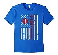 Ff Emtp Firefighter Paramedic Usa Flag Shirts Royal Blue