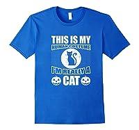 Halloween Cat Costume, This Is My Human Costume Retro Shirts Royal Blue
