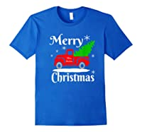 Merry Christmas Old Vintage Red Truck With Christmas Tree Shirts Royal Blue