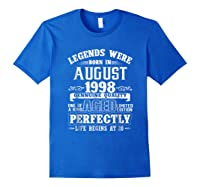 August 1998 20th Birthday Gift Shirt 20 Years Old Royal Blue